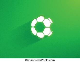 Flat soccer ball flying through the green grass field