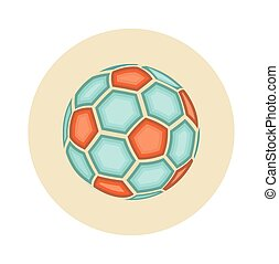 Flat Soccer Ball Icon Isolated on White