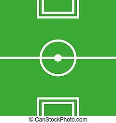 Flat soccer green field, football grass. Vector stadium. Soccer with line template.