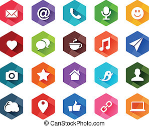 Flat Social Media Icons for Light Background in Long Shadow...