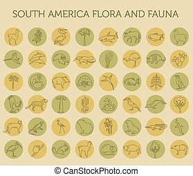Flat South America flora and fauna elements. Animals, birds ...