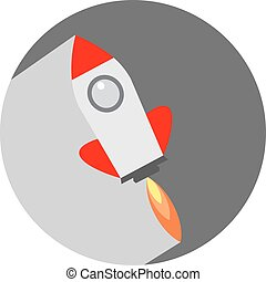 Flat Space Shuttle Rocket Circle Icon with Long Shadow