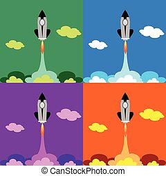Flat Space Shuttle Rocket Icon