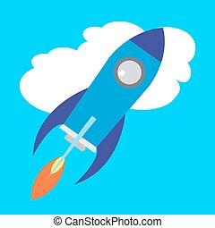 Flat Space Shuttle Rocket  Icon