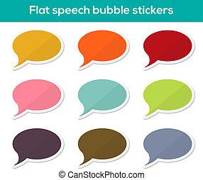 Flat speech bubble stickers