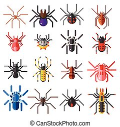Set of flat spiders cartoon colored icons vector...