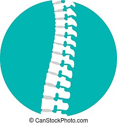 Flat spine icon for orthopedic therapy, diagnostic center.