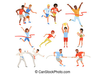 Flat sports people taking part in different competition. Basketball players, karate fighters, tug of war, athletes crosses finish line red ribbon, man and woman with trophies