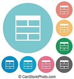 Flat Spreadsheet horizontally merge table cells icons
