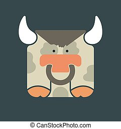 Flat square icon of a cute bull