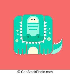 Flat square icon of a cute crocodile
