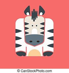 Flat square icon of a cute zebra