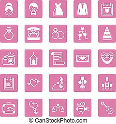 Flat square icons wedding