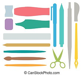 Flat stationery and drawing tools, pen set - Flat stationery...