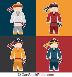 flat sticker of karate man