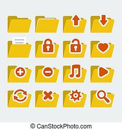 'flat', stijl, set, volder, iconen