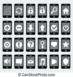 'flat', stijl, smartphone, vector, iconen