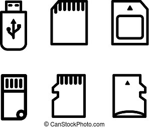 Flat stile flash drives of different type icon set