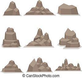 Flat stones vector art illustration