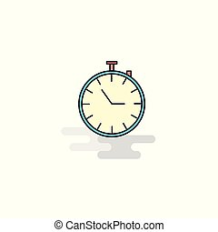 Flat Stop watch Icon. Vector