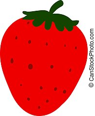 Flat strawberry, illustration, vector on white background.