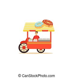 Flat street food cart with donuts