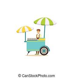Flat street food cart with umbrella