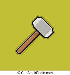 Flat Stroke Hammer Icon - Vector Illustration