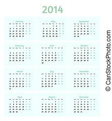 Flat style 2014 year vector calendar
