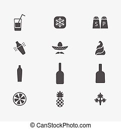 Flat style alcohol cocktail ingredients icons set