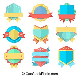 Flat style badge icons set. Vector badges, simple design.