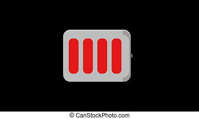 Flat style battery icon charging, motion graphic animation.