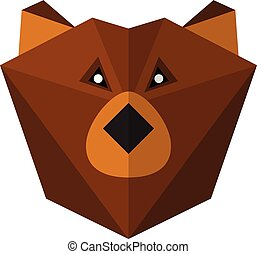 Flat style bear icon isolated on a white background