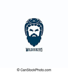 Flat Style Biker Face Abstract Vector Logo Template. Bearded Man in Helmet with Goggles Silhouette. Rider Symbol or Icon. Retro Typography.