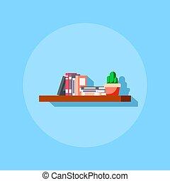 Flat style bookshelve icon