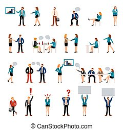 Flat style business people figures icons. Web template...