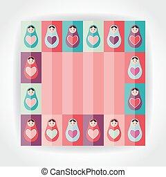 Flat Style card pink, purple, orange, teal Russian dolls matryoshka with heart. Vector