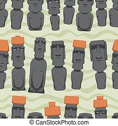 Flat style Cartoon Easter Island Rapa Nui seamless...