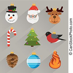 Flat style Christmas decorations