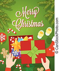 Flat Style Christmas Vector Greeting Card