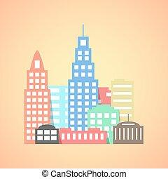 flat style city on orange background