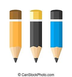 Flat Style Classic Pencils Set on White Background. Vector illustration