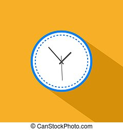 flat style clock icon with long shadow on yellow background