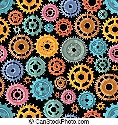 Flat Style Color Gears Pattern