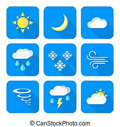 flat style colored weather forecast icons set - vector color...