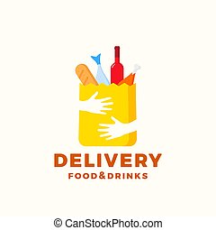 Flat Style Colorful Food and Drinks Delivery Abstract Vector Sign or Logo Template. Paper Bag with Hands, Bread, Wine, Fish, etc. Negative Space Shopping Emblem or Catering Icon.