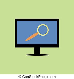 Flat style computer with magnifying glass