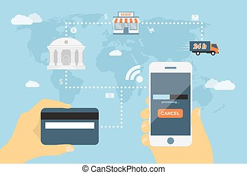 mobile payment - flat style concept for mobile payment using...