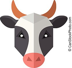 Flat style cow icon isolated on a white background