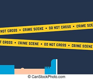 flat style crime scene with corpse